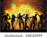 dancing people silhouettes.... | Shutterstock .eps vector #548185999