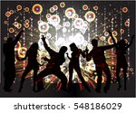 dancing people silhouettes.... | Shutterstock .eps vector #548186029