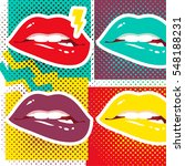pop art lips retro style art... | Shutterstock .eps vector #548188231