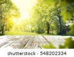 wooden table in garden of... | Shutterstock . vector #548202334