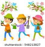 three kids going to plant trees ... | Shutterstock .eps vector #548213827