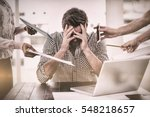businessman stressed out at... | Shutterstock . vector #548218657