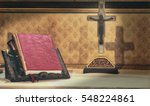 Cross And Bible On An Altar...