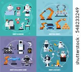 Robots Concept Icons Set With...