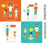 healthy family flat concept... | Shutterstock .eps vector #548233915