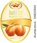 label with peaches. photo... | Shutterstock .eps vector #54823504