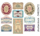 set of 9 ornate vintage labels  ... | Shutterstock .eps vector #54823672