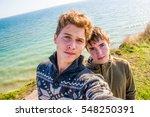 beautiful teen boys selfies... | Shutterstock . vector #548250391