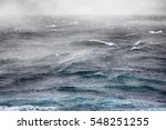 Small photo of Fog (advective fog, dew-point temperature) over cold current (cold flow) in Kara sea. Arctic ocean has lost ice, changing currents, climate change. Stormy weather six points on the scale of Bofort