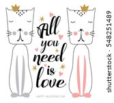hand drawn couple of cute cats... | Shutterstock .eps vector #548251489