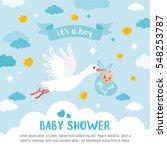 baby shower card. stork... | Shutterstock .eps vector #548253787