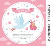 baby shower frame. stork... | Shutterstock .eps vector #548253871
