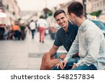 two young friends talking... | Shutterstock . vector #548257834