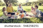 family picnic outdoors... | Shutterstock . vector #548258251