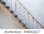 Old Rustic Wooden Staircase In...