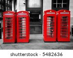 Red Telephone Boxes On Black...