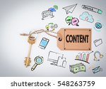 content concept. key and a note ... | Shutterstock . vector #548263759