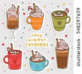 big set of cute cartoon winter... | Shutterstock .eps vector #548297659