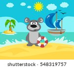 bear on the beach. | Shutterstock . vector #548319757