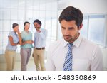 colleagues gossiping with sad... | Shutterstock . vector #548330869