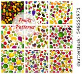 fruit patterns. seamless vector ... | Shutterstock .eps vector #548333971