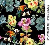 watercolor hand drawn seamless... | Shutterstock . vector #548338231