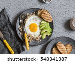 quinoa and egg breakfast bowl.... | Shutterstock . vector #548341387