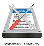 internal harddisk with a wrench ... | Shutterstock .eps vector #548352799