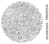 line art vector hand drawn set... | Shutterstock .eps vector #548354524