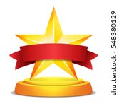 gold star award. red ribbon...   Shutterstock .eps vector #548380129