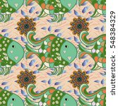 nautical pattern inspired by... | Shutterstock .eps vector #548384329
