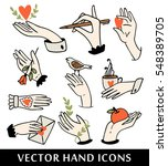 hand icons collection. colorful ... | Shutterstock .eps vector #548389705