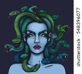 vector color mythology medusa... | Shutterstock .eps vector #548396077