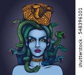 vector color mythology medusa... | Shutterstock .eps vector #548396101