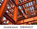 Red Colored Steel Beam Skeleton ...