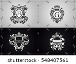 vector arms with crown and... | Shutterstock .eps vector #548407561