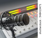 audio console and microphone in ... | Shutterstock . vector #548413471