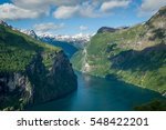 Geiranger fjord view from Road Of The Eagles mountain serpentine. Scenic Norway nature landscape. - stock photo