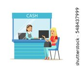 woman withdrawing cash at bank... | Shutterstock .eps vector #548437999
