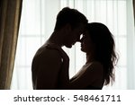 Couple With Closed Eyes. Woman...