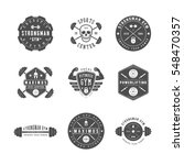 set of gym logos  labels and...   Shutterstock . vector #548470357
