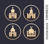 religion buildings icons set ... | Shutterstock .eps vector #548488231