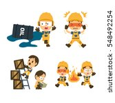 set of construction worker ... | Shutterstock .eps vector #548492254
