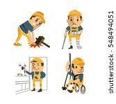 set of construction worker ... | Shutterstock .eps vector #548494051