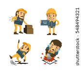 set of construction worker ... | Shutterstock .eps vector #548494321