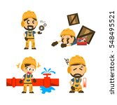 set of construction worker ... | Shutterstock .eps vector #548495521