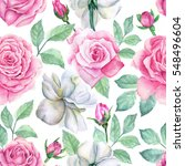 watercolor flower pattern | Shutterstock . vector #548496604