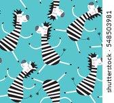 seamless cute zebra pattern... | Shutterstock .eps vector #548503981