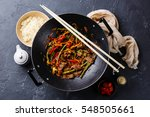 stir fry beef meat with... | Shutterstock . vector #548505661