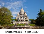 The famous basilica of Sacre-Coeur in Montmartre, Paris. - stock photo